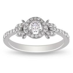 Miadora 14K White Gold 3/8 CT TDW Round Diamond Engagement Ring (G-H, SI1-SI2)