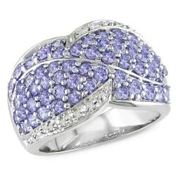Miadora Sterling Silver Tanzanite and Diamond Accent Ring (G-H, I2)