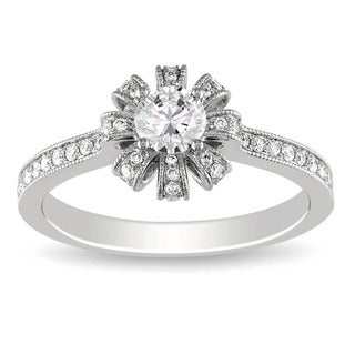 Miadora 14K White Gold 5/8 CT TDW Round Diamond Engagement Ring (G-H, SI1-SI2)