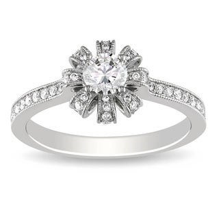 Miadora Signature Collection 14K White Gold 5/8 CT TDW Diamond Engagement Ring (G-H, SI1-SI2)