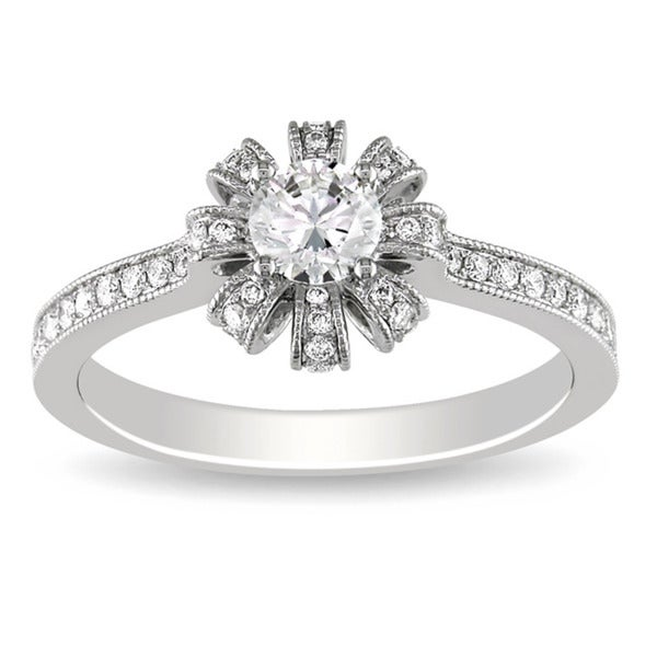 Miadora 14K White Gold 5/8 CT TDW Diamond Engagement Ring (G-H, SI1-SI2)