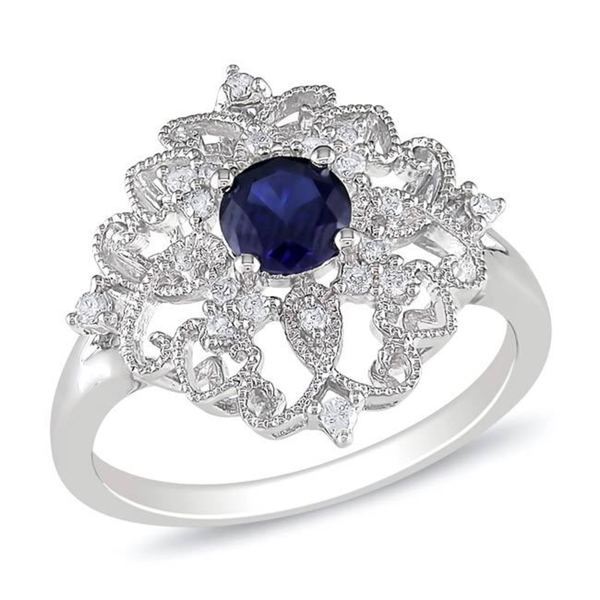 Miadora Sterling Silver Created Sapphire and 1/6ct TDW Diamond Ring (G-H, I3)