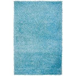 Hand-woven Vivid Soft Shag Rug in Sky Blue (8' 10')