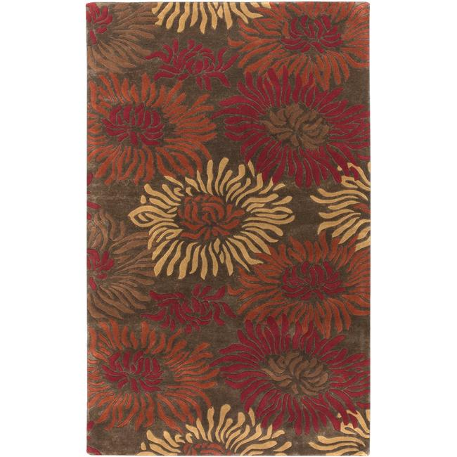 Hand-tufted Contemporary Brown/Red Floral Cupids New Zealand Floral Wool Rug (8'x11')