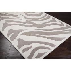 B. Smith Hand-tufted Beige/White Zebra Animal Print Hampton  Wool Rug (8'x11')