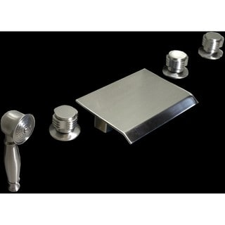 Brushed Nickel Waterfall 5-piece Bathroom Tub Faucet Set