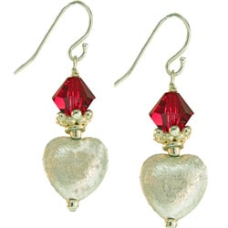 Misha Curtis Sterling Silver Red Crystal Heart Earrings