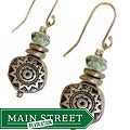 Misha Curtis Silver Green Crystal Sunburst Earrings