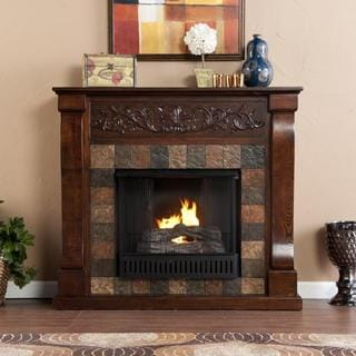 Moreland Espresso and Gray Faux Slate Gel Fuel Fireplace