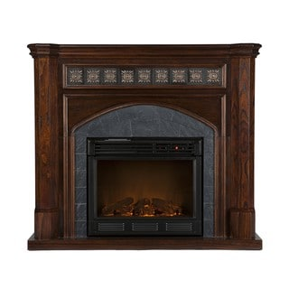 Calvin Espresso and Gray Faux Slate Electric Fireplace