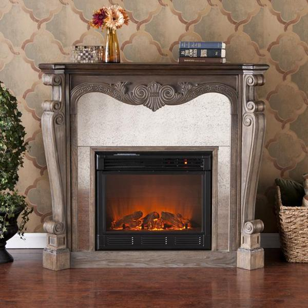 Alcott Burnt Oak and Gray Faux Slate Electric Fireplace