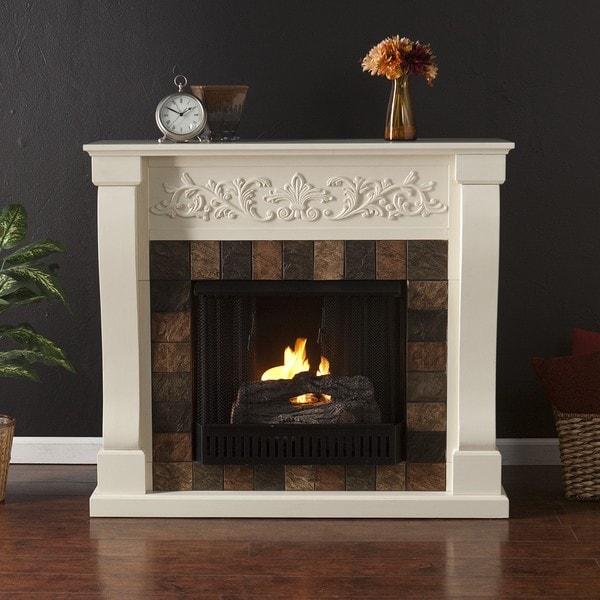 Moreland Ivory and Gray Faux Slate Gel Fuel Fireplace