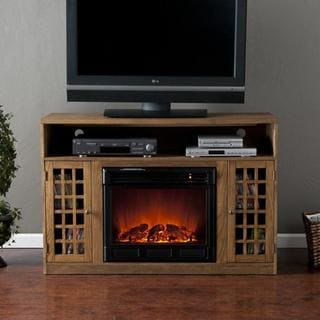 Grigsby Weathered Oak Media Console Fireplace