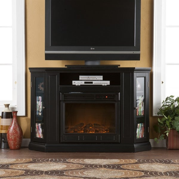 Upton Home Claremont Black Media Console Fireplace