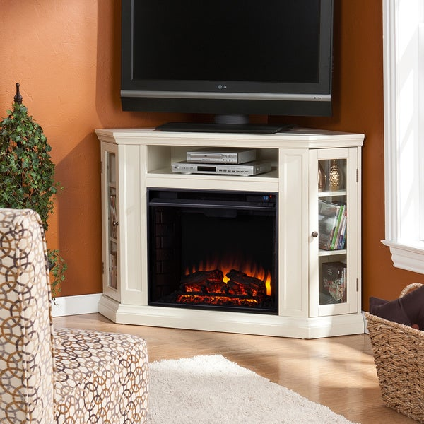 Harper Blvd Belvedere Ivory Media Console Fireplace