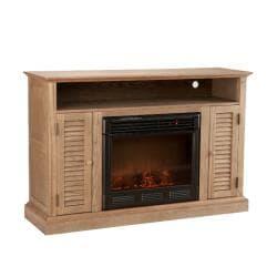 Herschel Weathered Oak Media Console Fireplace