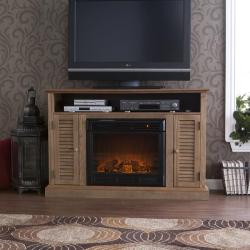 Herschel Weathered Oak Media Console Fireplace