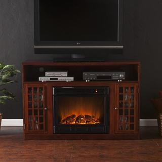Upton Home Brannick Mahogany Media Console Fireplace