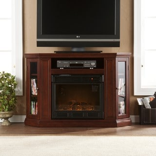 Belvedere Cherry Media Console Fireplace