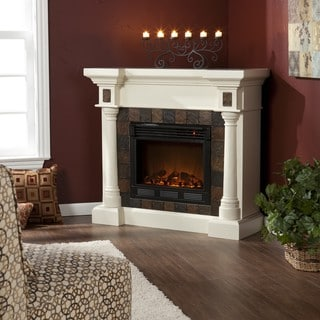 Blanchard Ivory Electric Fireplace | Overstock.com Shopping