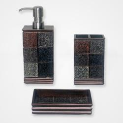 Tivoli Brown Resin Tile-patterned Bath Accessory 3-piece Set