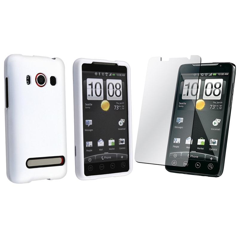 INSTEN White Rubber Coated Phone Case Cover/ Screen Protector for HTC EVO 4G