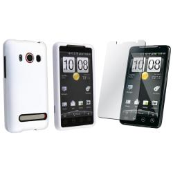 White Rubber Coated Case/ Screen Protector for HTC EVO 4G