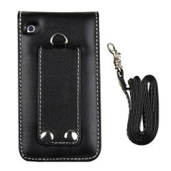 INSTEN Leather iPod Case Cover/ Mirror Screen Protector for Apple iPod Touch 4th Gen