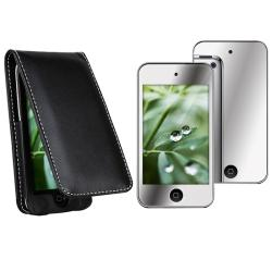 Leather Case/ Mirror Screen Protector for Apple iPod Touch 4th Gen