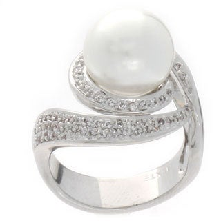 NEXTE Jewelry Silvertone White Faux Pearl and Cubic Zirconia Ring