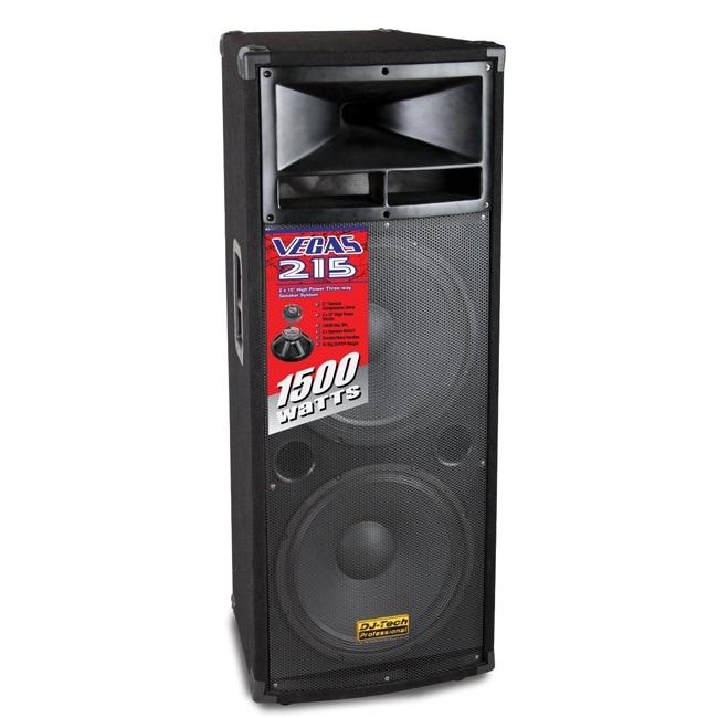 DJ Tech Vegas 215 Double 15-inch DJ Speaker with Horn