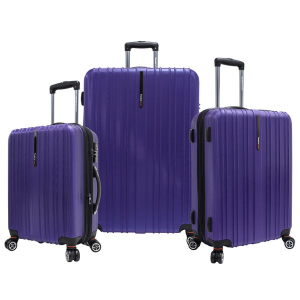 Traveler's Choice Tasmania Polycarbonate 3-piece Expandable 8-wheel Spinner Luggage Set
