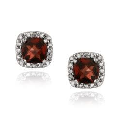 Glitzy Rocks Sterling Silver Cushion-cut Garnet Stud Earrings