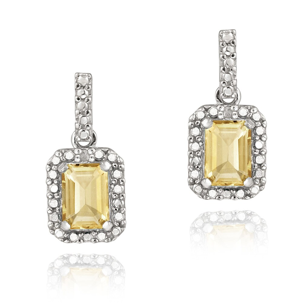 Glitzy Rocks Sterling Silver Citrine and Diamond Accent Earrings