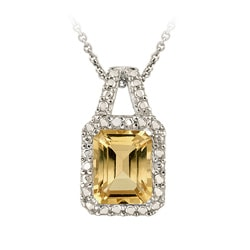 Glitzy Rocks Sterling Silver Citrine and Diamond Accent Necklace
