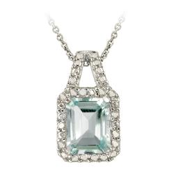 Glitzy Rocks Sterling Silver Blue Topaz and Diamond Accent Necklace