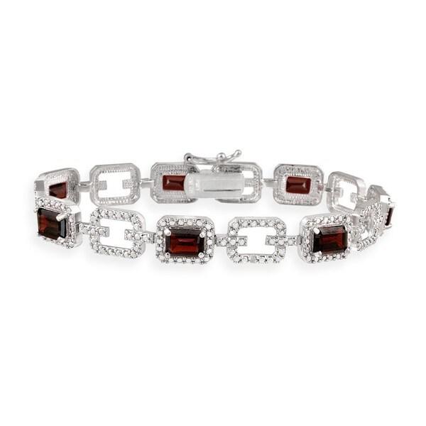 Glitzy Rocks Sterling Silver 8.4 CTW Garnet and Diamond Accent Link Bracelet 8413810