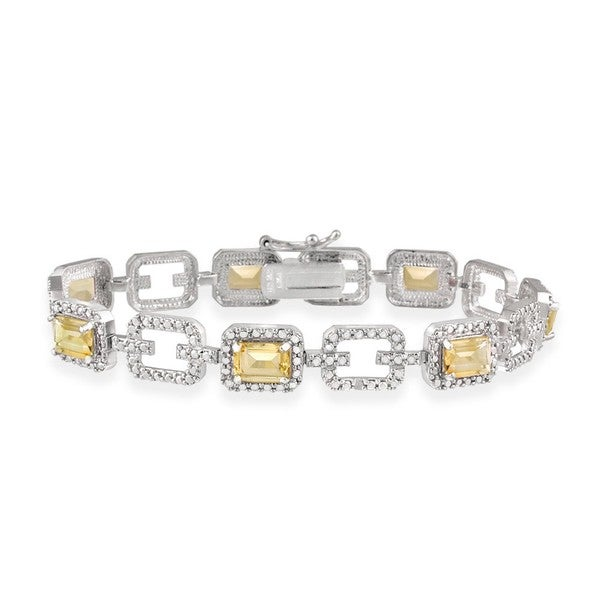 Glitzy Rocks Sterling Silver 7 CTW Citrine and Diamond Accent Link Bracelet