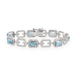 Glitzy Rocks Sterling Silver 8.75 CTW Blue Topaz and Diamond Accent Bracelet