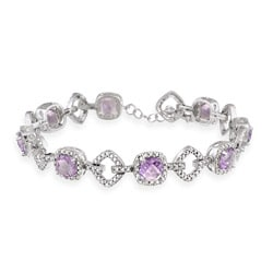 Glitzy Rocks Sterling Silver 5.6 CTW Amethyst and Diamond Accent Bracelet
