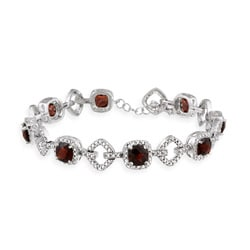 Glitzy Rocks Sterling Silver 8 CTW Garnet and Diamond Accent Bracelet
