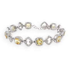 Glitzy Rocks Sterling Silver 5 5/8 CTW Citrine and Diamond Accent Bracelet