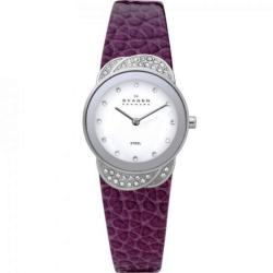 Skagen Women's Denmark Plum Leather Glitz Watch