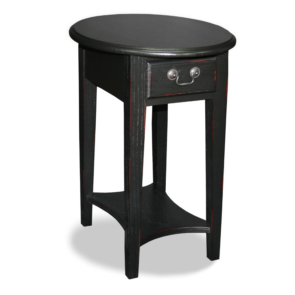 Black Oval Side Table