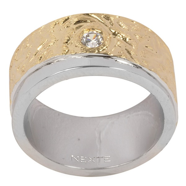 NEXTE Jewelry Gold Overlay Cubic Zirconia 'Two Two Two' Band