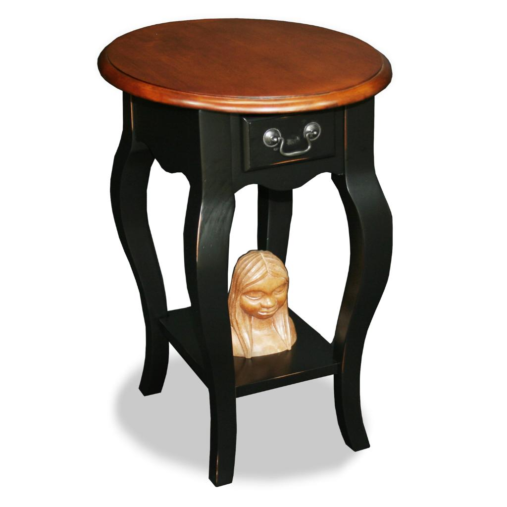 Brown Cherry/ Slate Oval Side Table