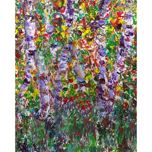 Ankan 'Purple Trees' Gallery-wrapped Canvas Art