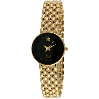 Swiss Edition Women's Goldtone Panther Link Black Dial Watch