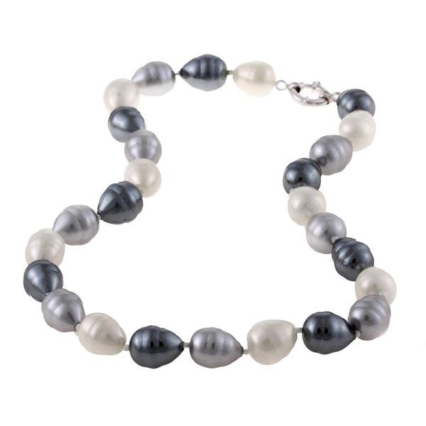 La Preciosa White, Silver and Grey Shell Pearl Necklace