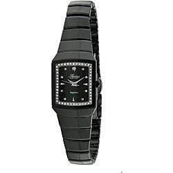 Swiss Edition Women's Ceramic Black Dial Crystal Accent Watch
